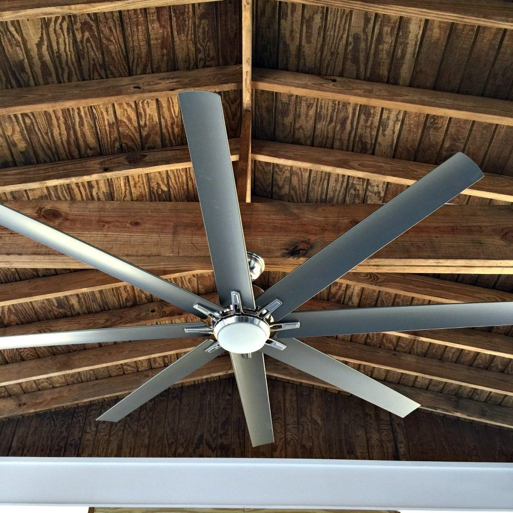 Kensgrove 72 In Led Indooroutdoor Brushed Nickel Ceiling Fan On The Porch At Refresh Restyle Outdoor Kitchen Plans Outdoor Kitchen Concrete Patio 72 inch outdoor ceiling fan