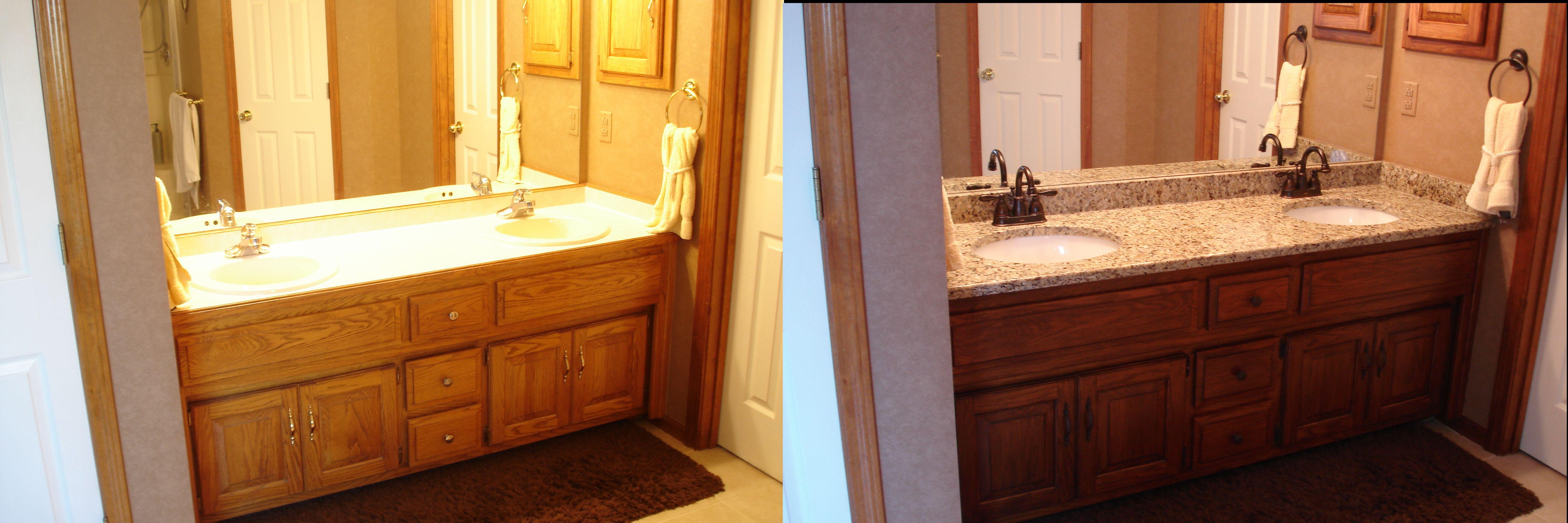 My Golden Oak Master Bath Remodel. Darkened vanity with