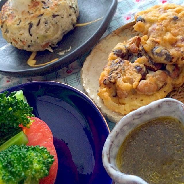 お豆の煮汁ドレッシングも作りました。 簡単! お豆の煮汁に栄養あり! - 5件のもぐもぐ - 大豆と塩昆布天ぷら by yu35
