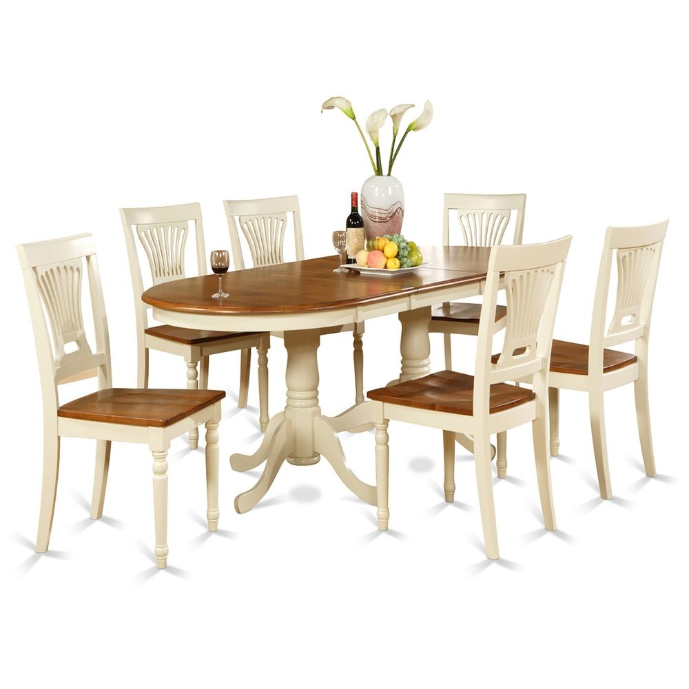 plainville plai7 whi cherry cream rubberwood dining table with 6