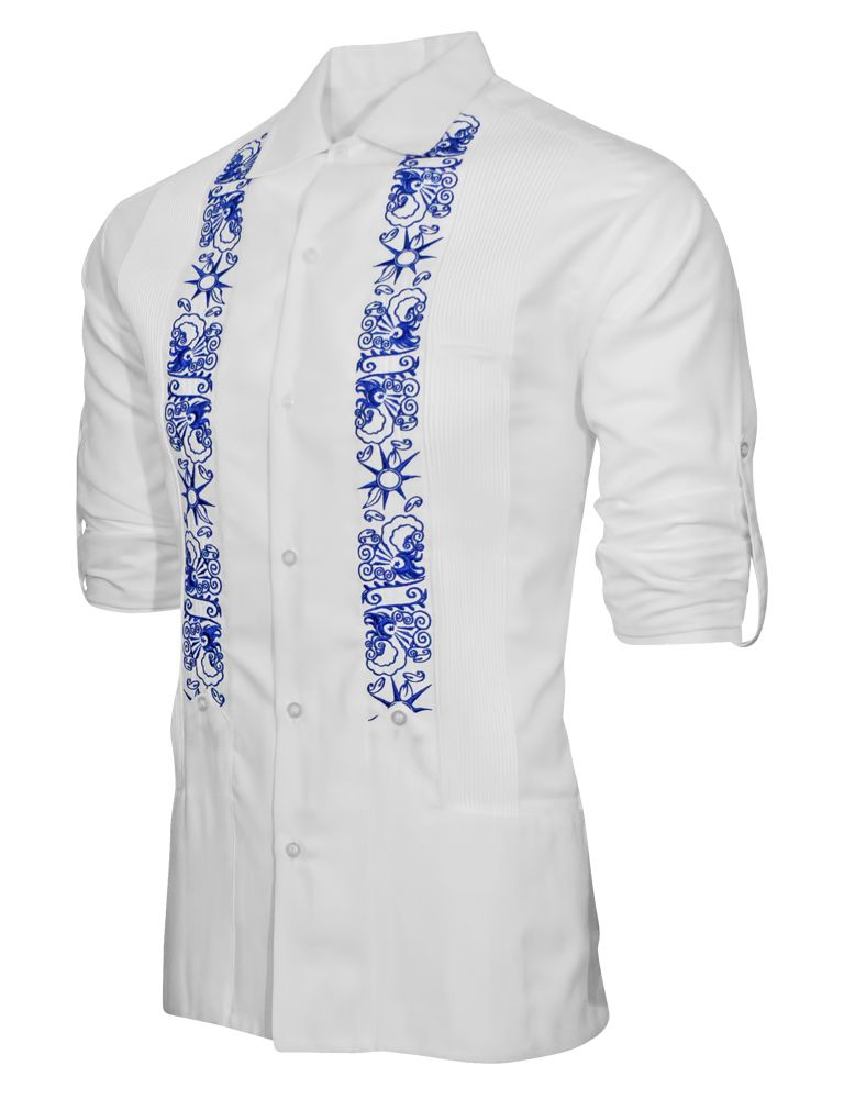 "White • Lux Linen Blend • 50% Linen 50% Cotton • Long Sleeve • Collared • Wide Waist Pockets • Small ""Cigar"" Pocket at Chest • Blue Modern Star Themed Artwork Embroidere"