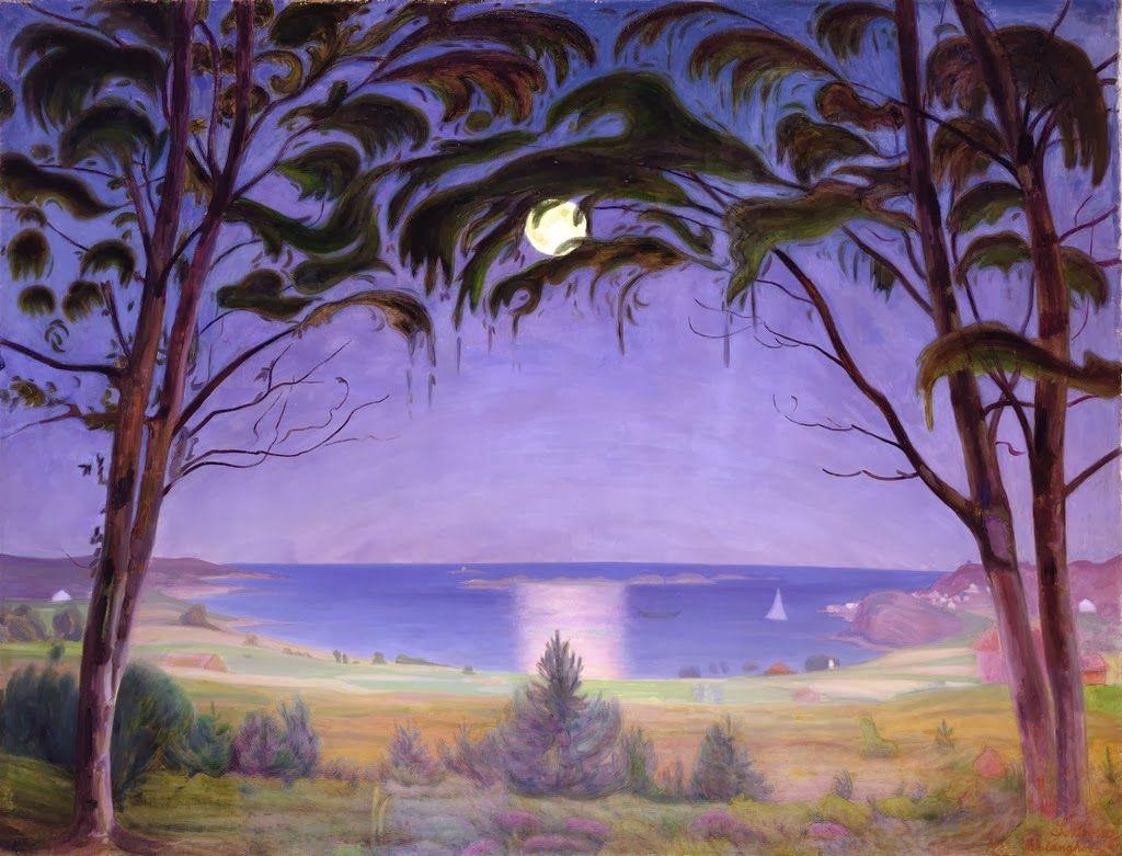 """Harald Sohlberg (Norwegian, 1869-1935) - """"Moonlight, Nevlunghavn"""" (1922)"""
