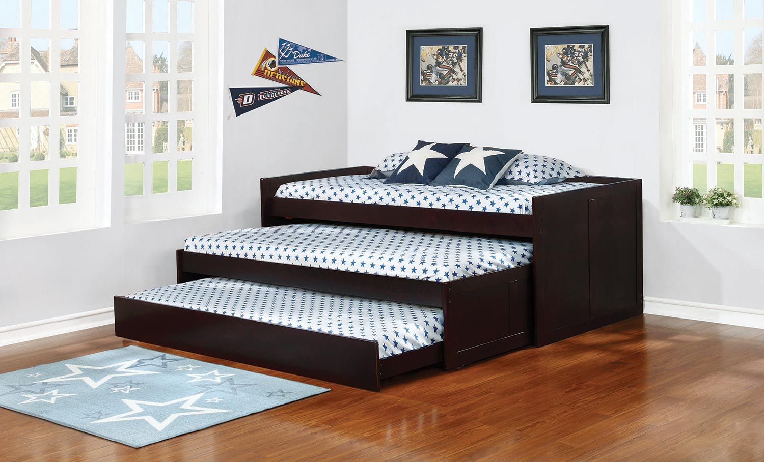 Best Coaster Aaron Triple Daybed With Trundle Cappuccino In 2020 Kids Bedroom Furniture Daybed 640 x 480