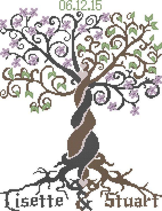 Wedding Cross Stitch Pattern, Wedding Tree Cross-Stitch Pattern ...