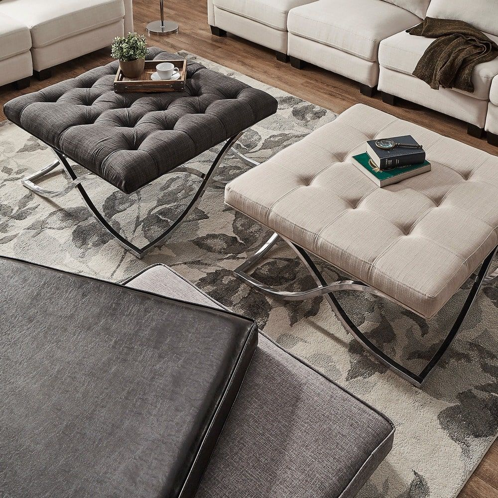 Solene X Base Square Ottoman Coffee Table   Chrome By INSPIRE Q Bold |  Overstock.