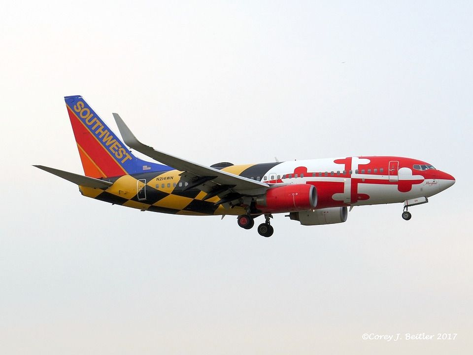 Southwest Airlines Boeing 737 700 Landing At The Philadelphia