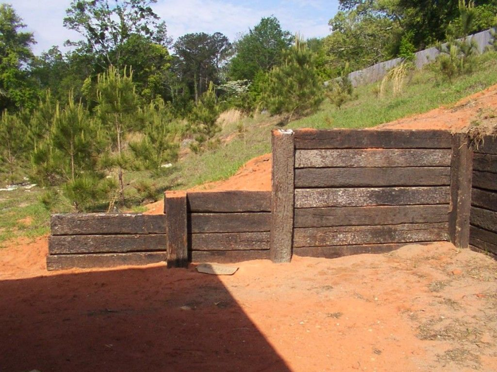 Creative Wood Retaining Wall From Old Railroad Wood: Retaining Wall
