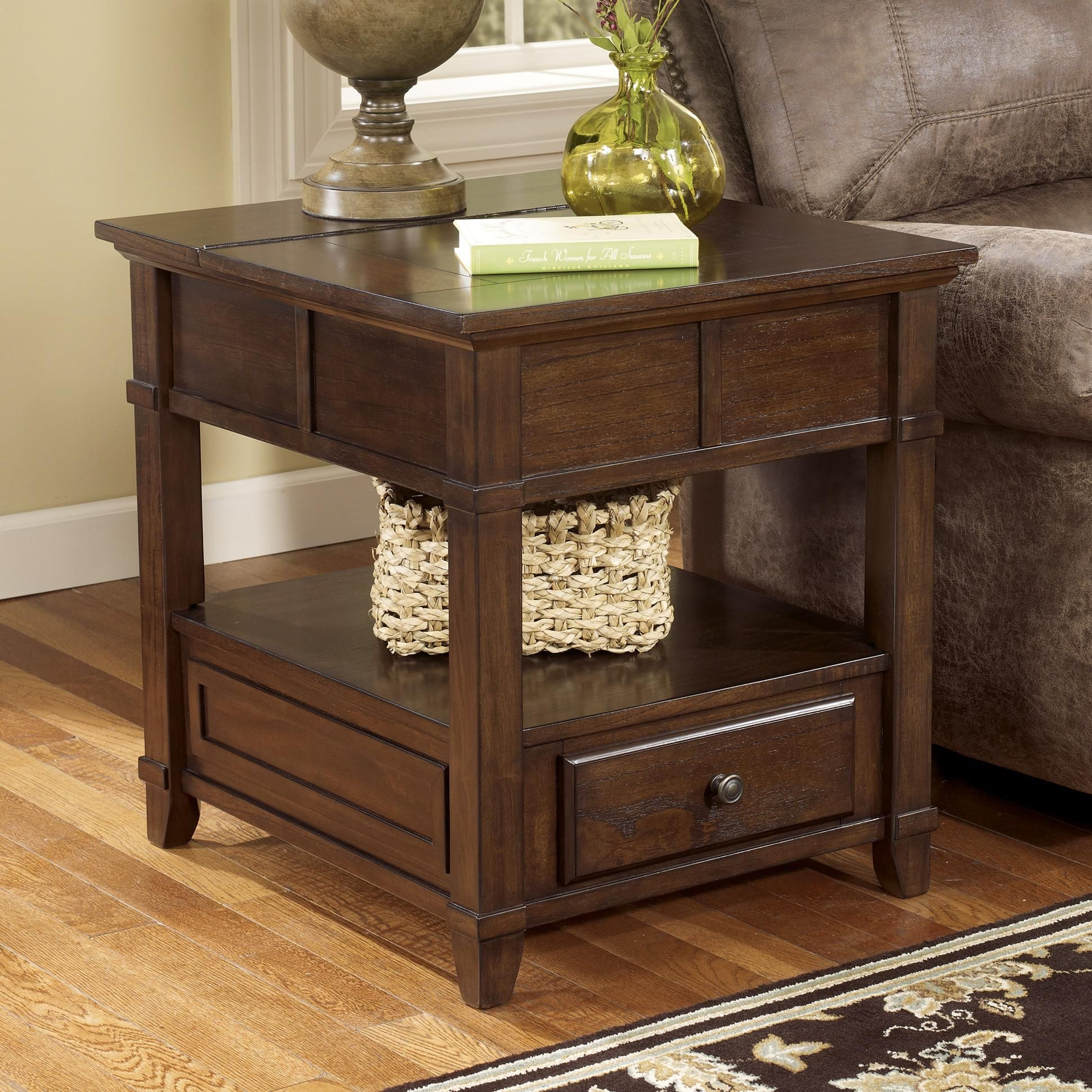 Gately End Table with Hidden Storage Electrical Outlet by