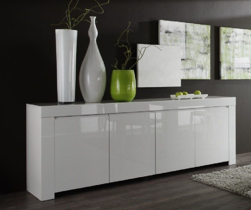 Rimini Collection Four Door Sideboard White Gloss Sideboards Display Cabinet