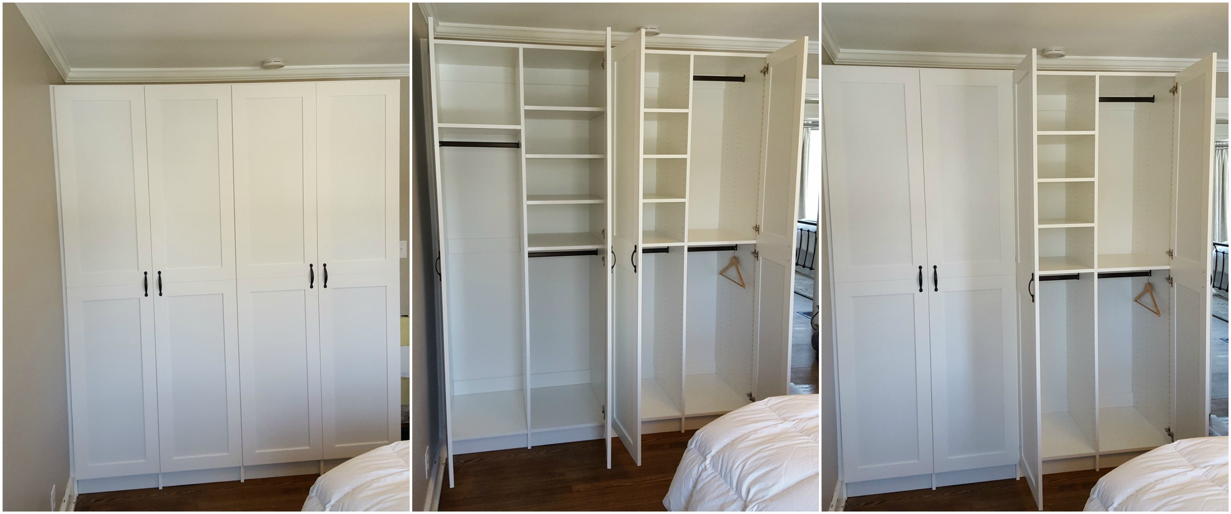 White Melamine Closet Cabinets With Long Hang Double Hang Adjustable Shelving And Doors Closet Cabinets Locker Storage Adjustable Shelving