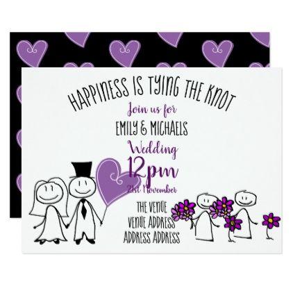 Fun Wedding Invite Handwriting Line Drawing Art Zazzle Com