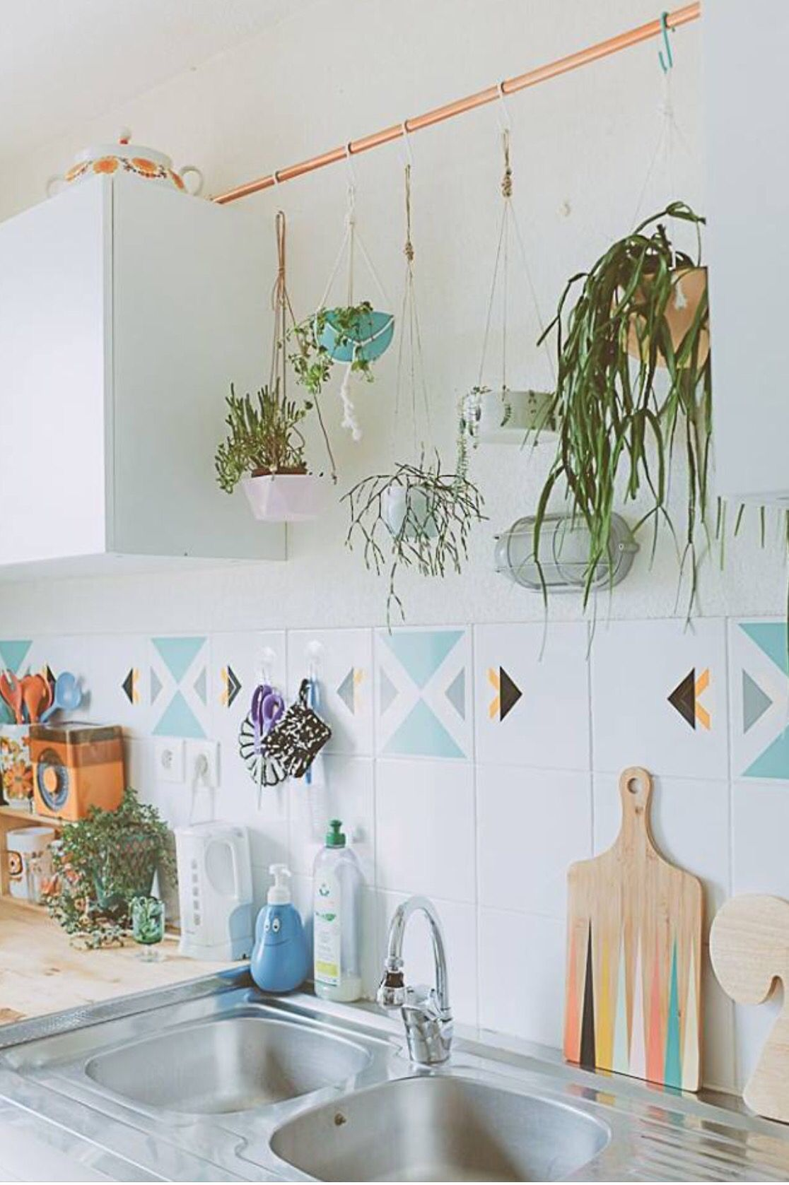 I like the pipe with hanging plants, could do over a sink or in front of a window.