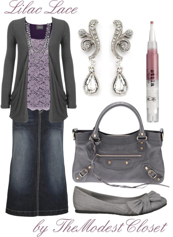 U0026quot;Lilac Laceu0026quot; by themodestcloset liked on Polyvore. Long jean skirt. Purple. Cute outfit with ...