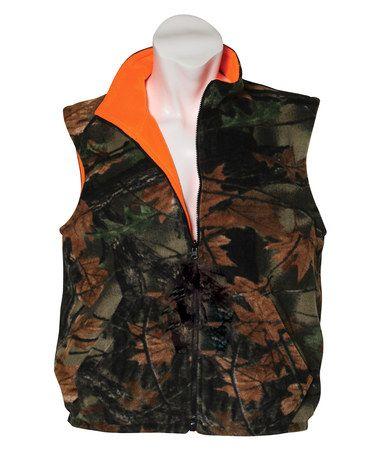 98f2b1e0d30fa This Camo & Blaze Orange Reversible Fleece Vest - Boys is perfect! # zulilyfinds
