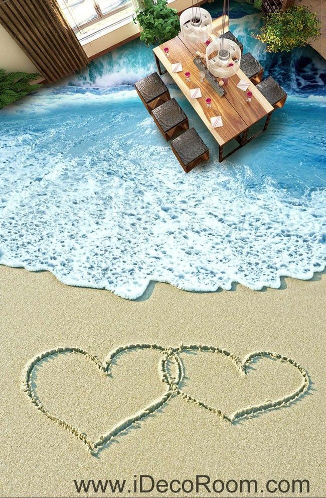 Two hearts on beach ocean 00061 floor decals 3d wallpaper wall mural stickers print art bathroom decor living room kitchen waterproof business home office
