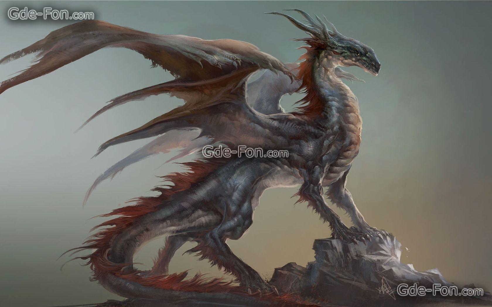 Скачать обои арт, дракон, профиль, скала бесплатно для ...