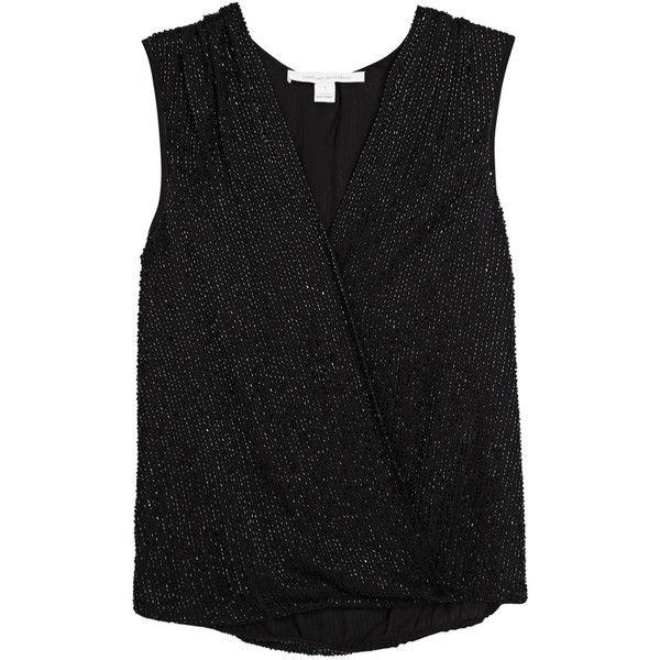 Diane von Furstenberg Womens Sleeveless Tops Diane Von Furstenberg Eva... ($595) ❤ liked on Polyvore featuring tops, sleeveless tops, wrap top, drapey tops, sleeveless wrap top and black drape top