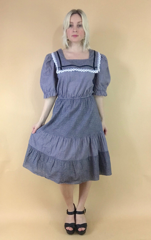 38e811a39b 1970s prairie dress black and white puff sleeves bib collar 70s boho  peasant midi dress vintage striped folk hippie dress Gunne Sax style S