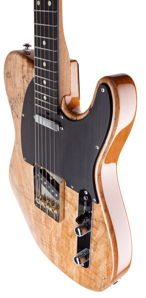 """This custom Classic T features: a Spalt Maple, 2-Piece, 3/16"""" top finished in Natural Gloss, Genuine Mahogany, 2-Piece body, Genuine Mahogany neck, Ebony fingerboard, 3 Saddle Vintage T bridge, Classic T - Neck, and Classic T - Bridge."""