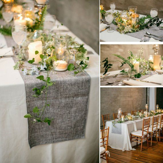 Table Runner Burlap Natural Jute Imitated Linen Rustic Table Decoration Accessories Perfect for Parties, Wedding, Daily Decor