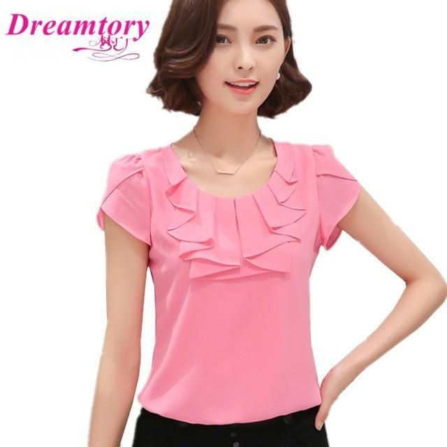 157a998a5 EveingAsky Office Women Shirts Blouses White Pink Purple Elegant Ladies Chiffon  Blouse Short Sleeve Womens Tops Chemise Femme