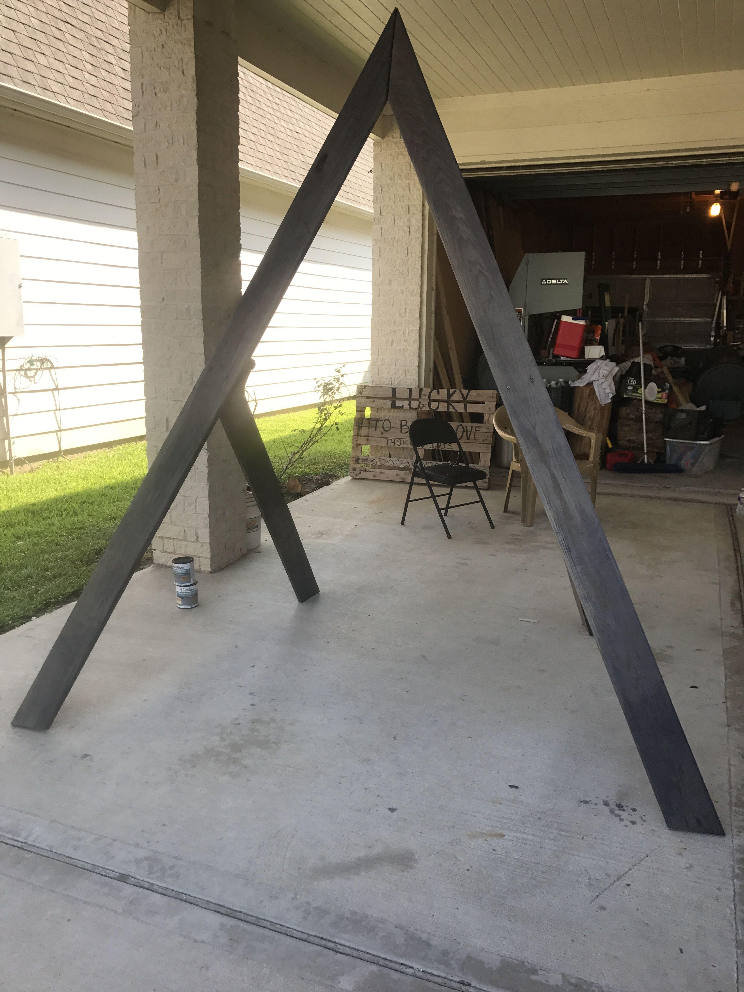 Triangle wedding arch geometric ash gray Diy wedding