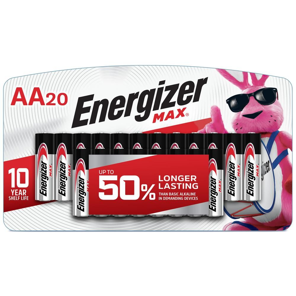 Energizer Max Aa Batteries 20 Pack Double A Alkaline Batteries E91lp 20 The Home Depot In 2021 Energizer Energizer Battery Alkaline Battery
