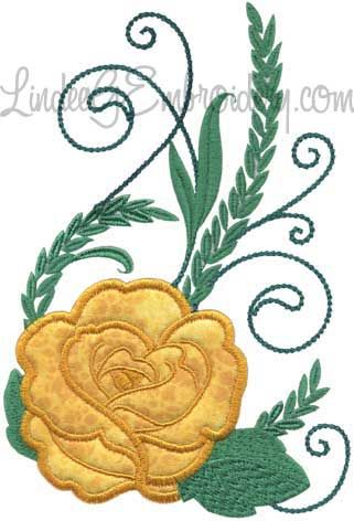 Rose 2 from Elegant Roses Applique.   #machineembroidery #applique #rose #floral