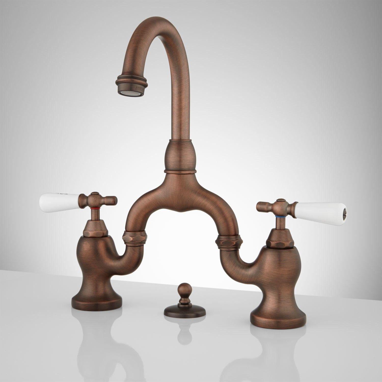 Ponticello Bridge Bathroom Faucet - Porcelain Lever Handles ...