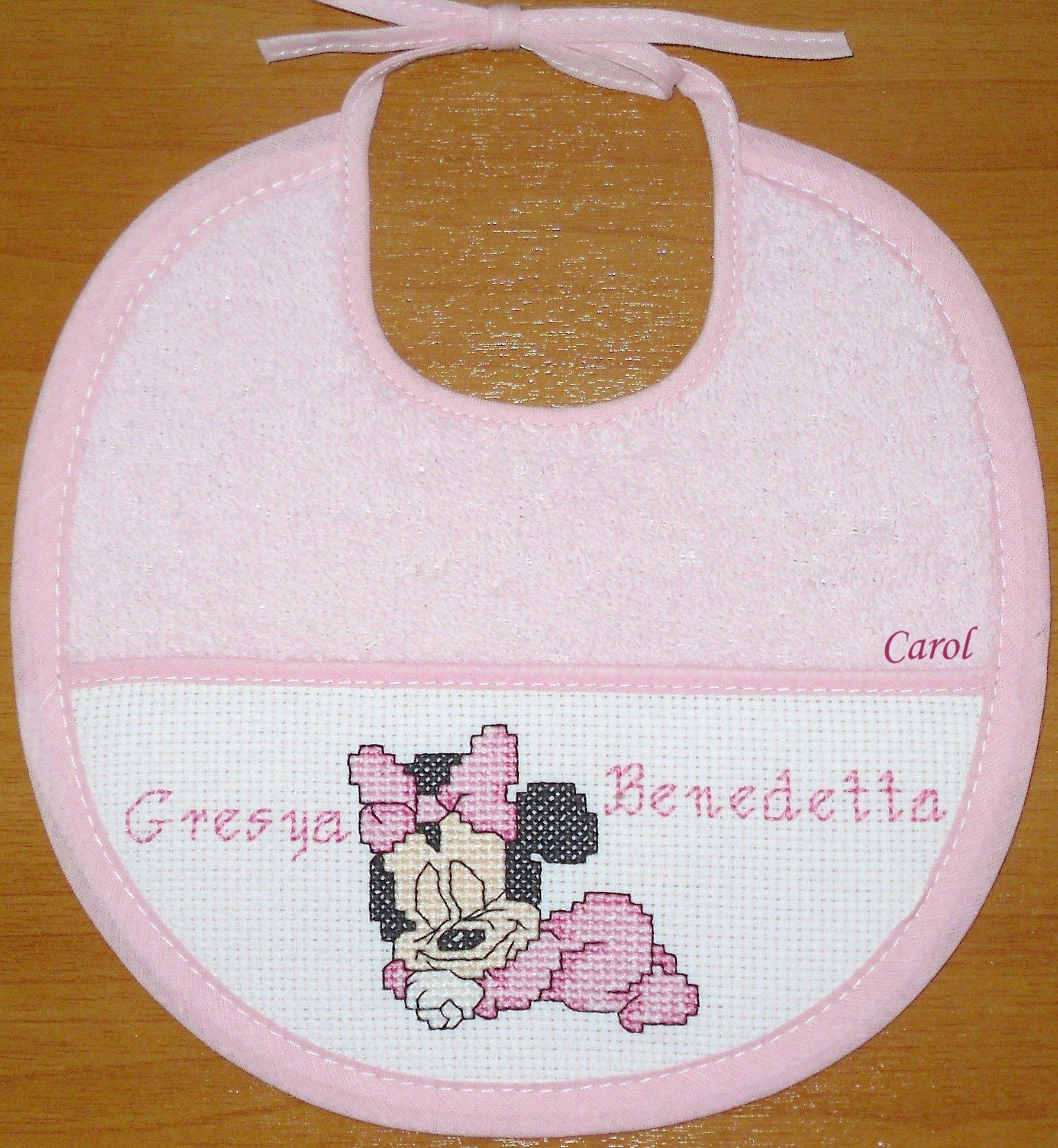 Bavaglino Disney Baby Minnie Dolci Sogni Punto Croce