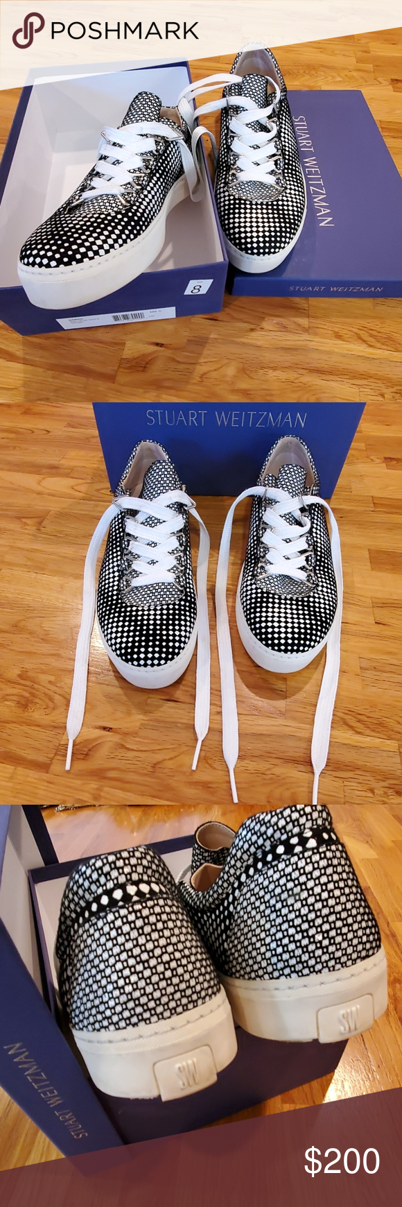 Stuart Weitzman Sneakers Stuart Weitzman Gaming black & white Optic Nappa sneakers. Made in Spain. I ❤ these shoes! I wear sz 8 Stuart Weitzman heels, but these flat sneakers are a full size too big even with socks. EUC, like new without flaws or wear & tear to material or interior insoles. Had them on 2-3 times max.