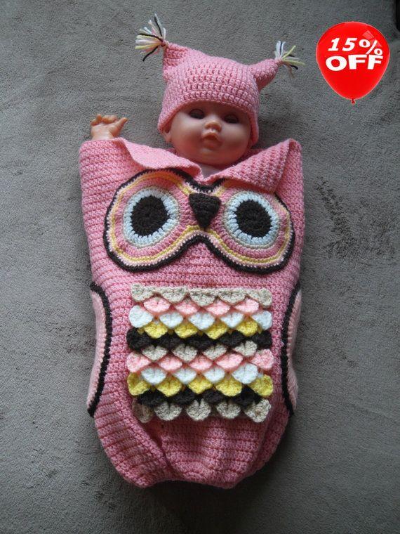 en vente papoose cocon b b hibou avec chapeau crochet cocoon b b photo prop baby papoose. Black Bedroom Furniture Sets. Home Design Ideas