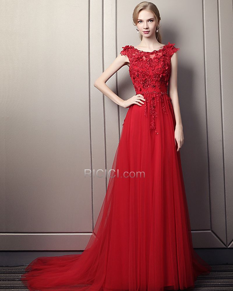 694aabf612 Beautiful Red Prom Dresses A Line Spring Long Appliques Evening Dress 2018  Sleeveless Lace Bohemian  ricicifashion