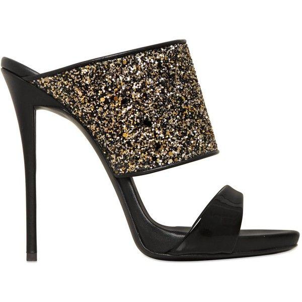 2bd7777563b7 Giuseppe Zanotti Design Women 120mm Glittered Patent Leather Mules ( 440) ❤  liked on Polyvore