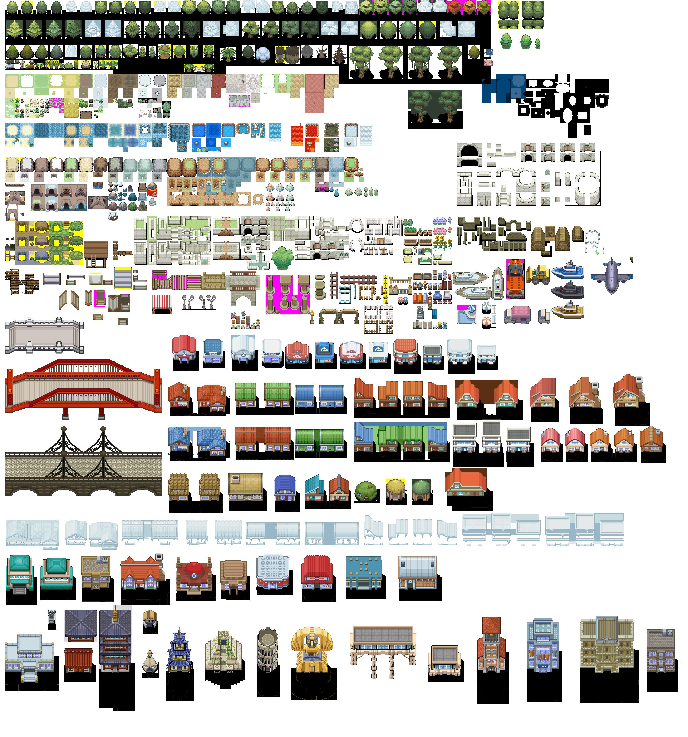 O trouver des tilesets complets rpg maker forum pokemon trash pkmn en 2019 pixel art for Ou trouver des tuiles