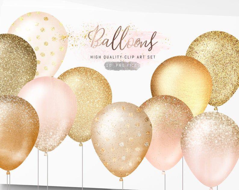 Gold Balloons Clipart Glitter Balloons Clip Art Sparkle Etsy Glitter Balloons Balloon Clipart Baby Shower Clipart