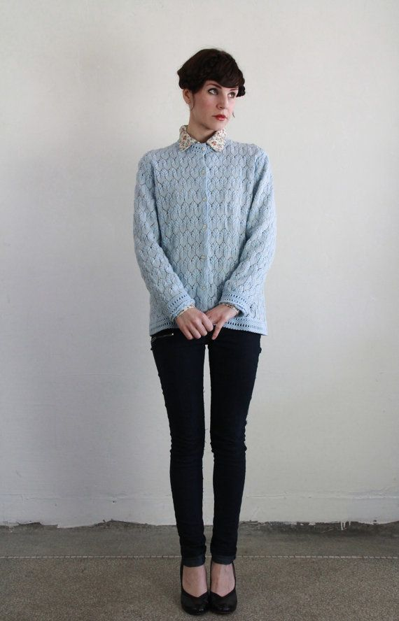 Vintage Pointelle Cardigan  Baby Blue Sweater  at VeraVague.etsy.com