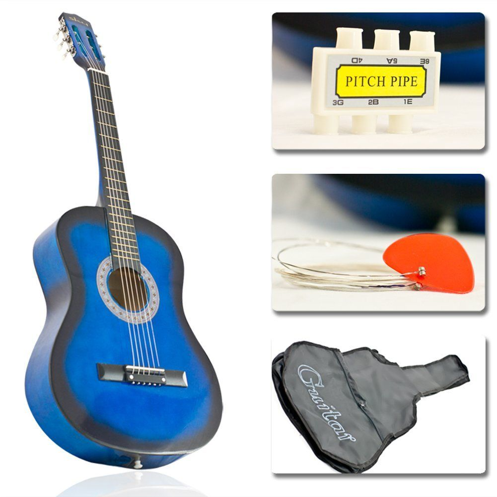 New Blue Acoustic Guitar W Accessories Combo Kit Beginners Price 34 95 Guitar Accessories Guitar Tuners Blue Acoustic Guitar