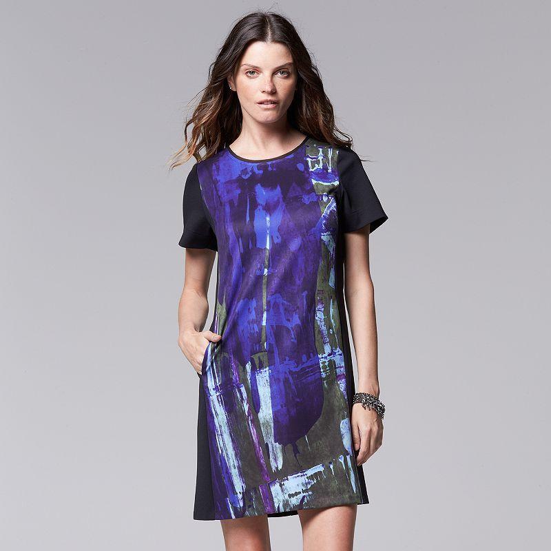 Petite Simply Vera Vera Wang Abstract Shift Dress, Women\'s, Size: L ...