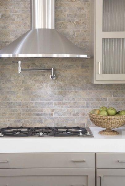 Back Splash Natural Stone In Modern Mosaic Taupe Kitchen Stone Backsplash Kitchen Grey Shaker Kitchen