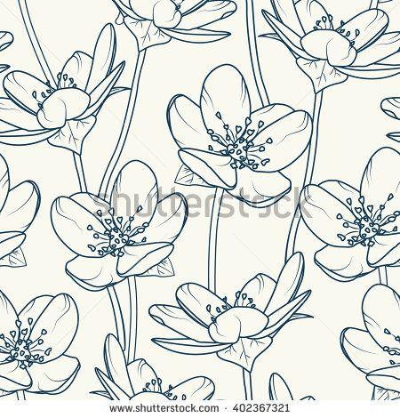 Seamless pattern of spring flowers dark blue outline on beige seamless pattern of spring flowers dark blue outline on beige background vector illustration mightylinksfo Gallery