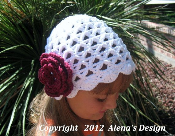 Crochet Pattern 015 - Lace Beanie Hat with Rose - Baby Toddler Child ...