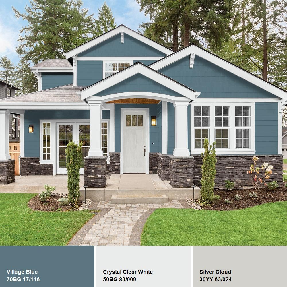 Ppg Timeless 1 Gal Hdppgb52 Village Blue Satin Exterior One Coat Paint With Primer Hdppgb52x 01sa The Home Depot House Paint Exterior Exterior Paint Colors For House Brick Exterior House