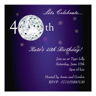 Disco Party Invites Disco Invitations Disco Invites - 40th birthday invitation uk