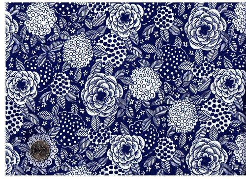 1 Yard Quilt Fabric Mod By Metro White On Navy Blue Floral Fabric ...