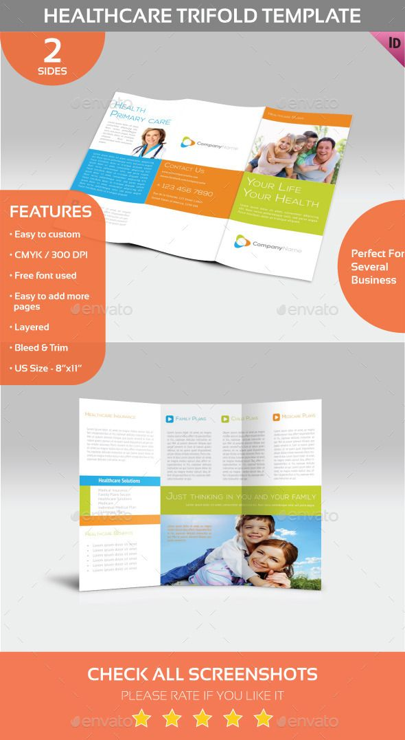 Healthcare Trifold Template Indesign templates, Template and Brochures - trifold indesign template
