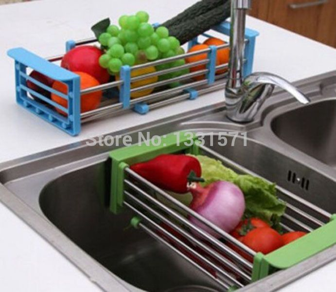 Stainless Steel Adjustable Telescopic Kitchen Over Sink Dish Drying Rack  Insert Storage Organizer Fruit Vegetable Tray