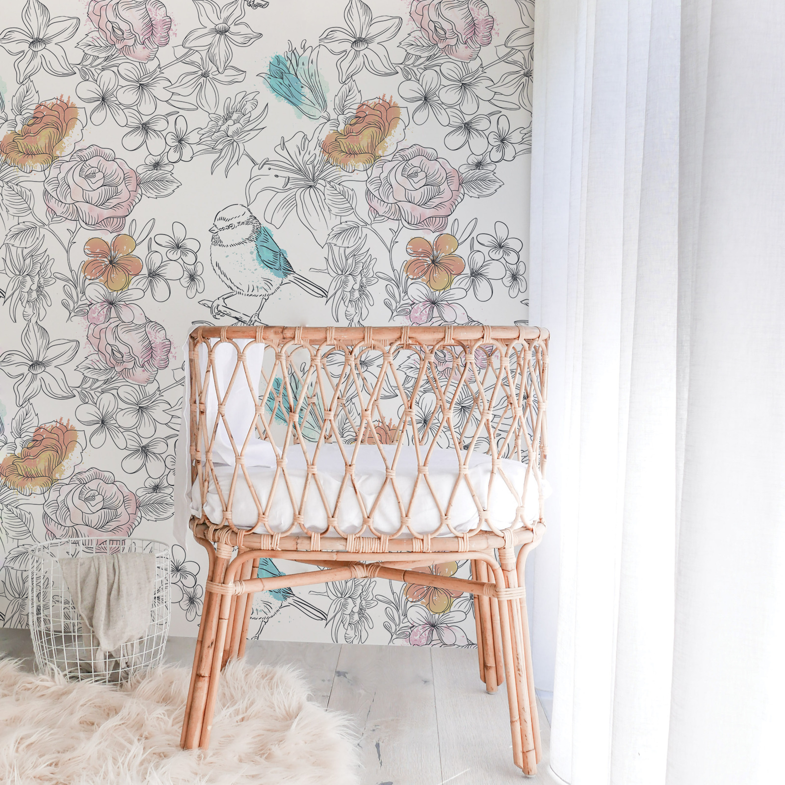 Flowerbed Sparrow Removable Wallpaper Kids room