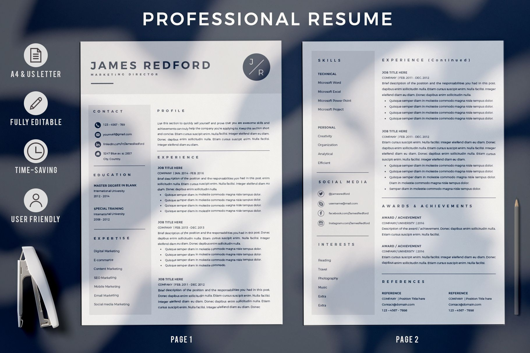 Creative Resume Templates For Ms Word And Mac Pages Professional Resume Templates And Marketing Resume Resume Template Professional Creative Resume Templates