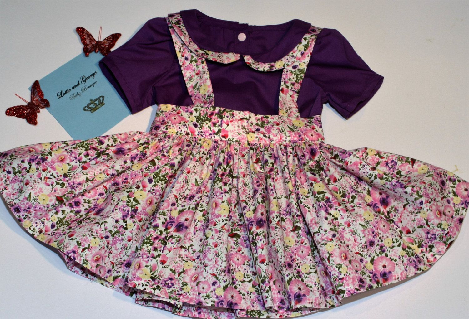 girls suspender skirt and blouse set by Lottieandgeorgebaby on Etsy